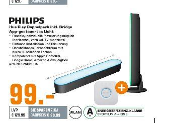 [Saturn] PHILIPS Hue Play Starter Set  inc. Hue Bridge ,LED Tischleuchte, Schwarz für 99,-€ bei Abholung