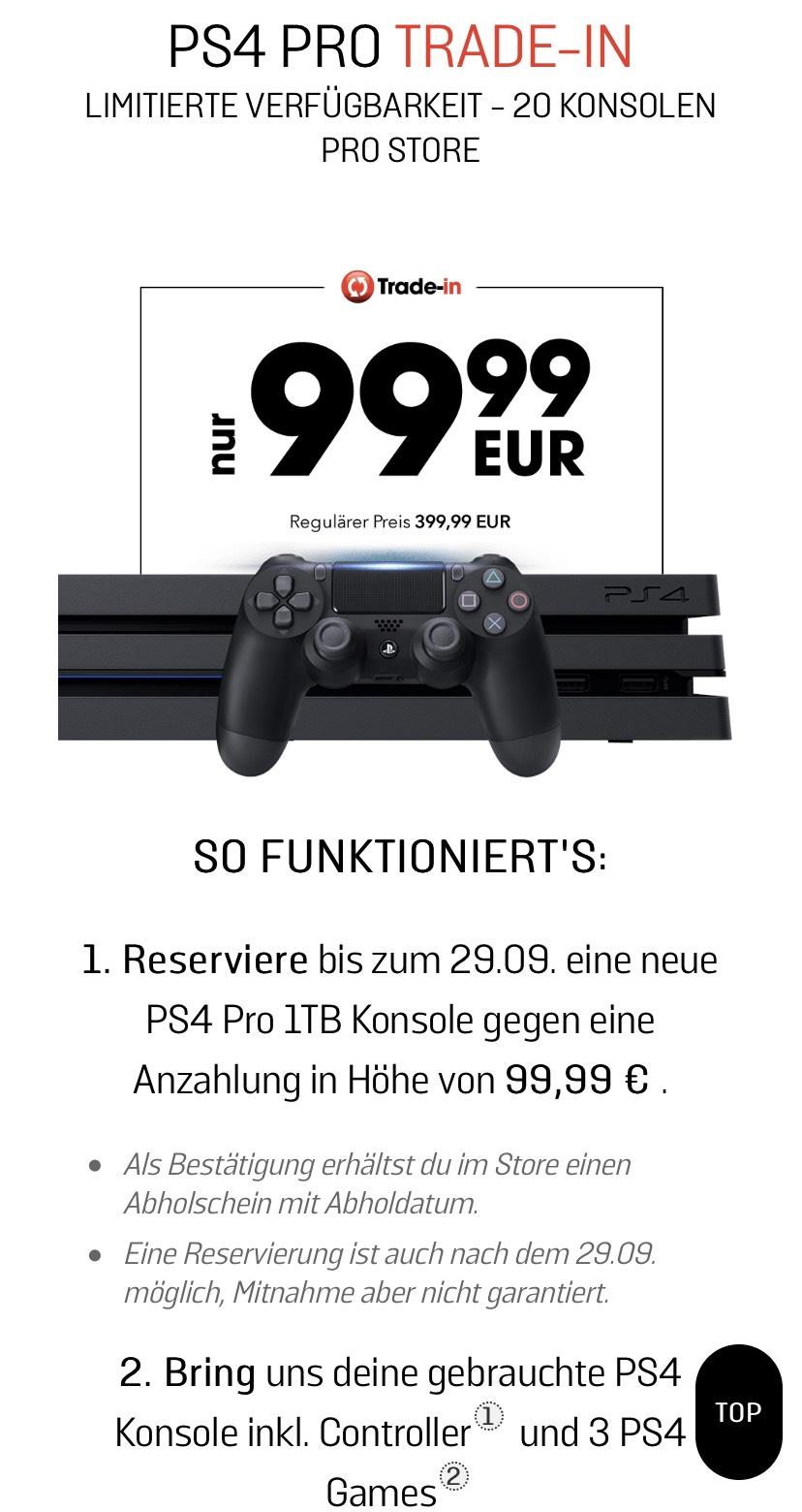 (BIS 13.10.) GameStop - PS4 Pro TRADE IN für 99€ oder FIFA 20 Bundle für 139,95€