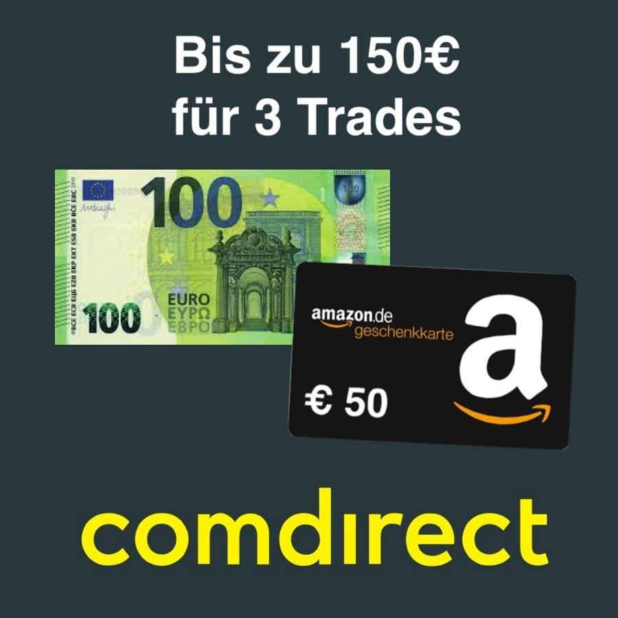 150€ fürs kostenlose comdirect Depot: 100€ Prämie für 3 Trades + 50€ Amazon Gutschein für Eröffnung (Neukunden)