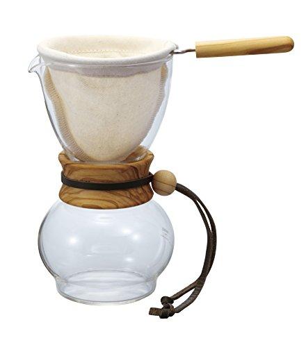 Hario DPW-1 Drip Pot Woodneck Kaffeekanne aus Olivenholz mit Stofffilter [Amazon]