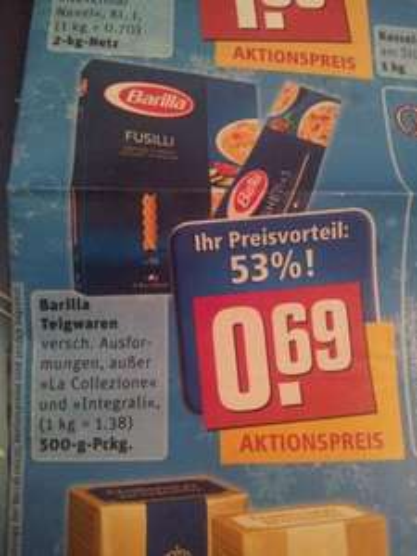 [evtl. bundesweit]Barilla Nudeln - vers. Sorten - 500gr - 0,69€ @ Rewe