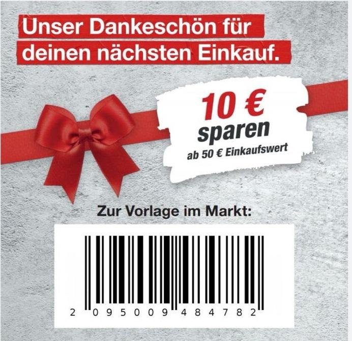 [Toom] 10€ Gutschein ab 50€ Einkaufswert