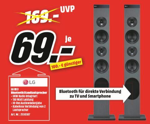 [Regional Medimärkte Hamburg ab 25.09] Lautsprecherturm LG TW RL3 130W Bluetooth WIFI Radio  je Stück für 69,-€