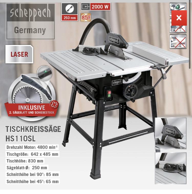 Scheppach Tischkreissäge HS110SL Inklusive 2. Sägeblatt und Schiebestock mit LED