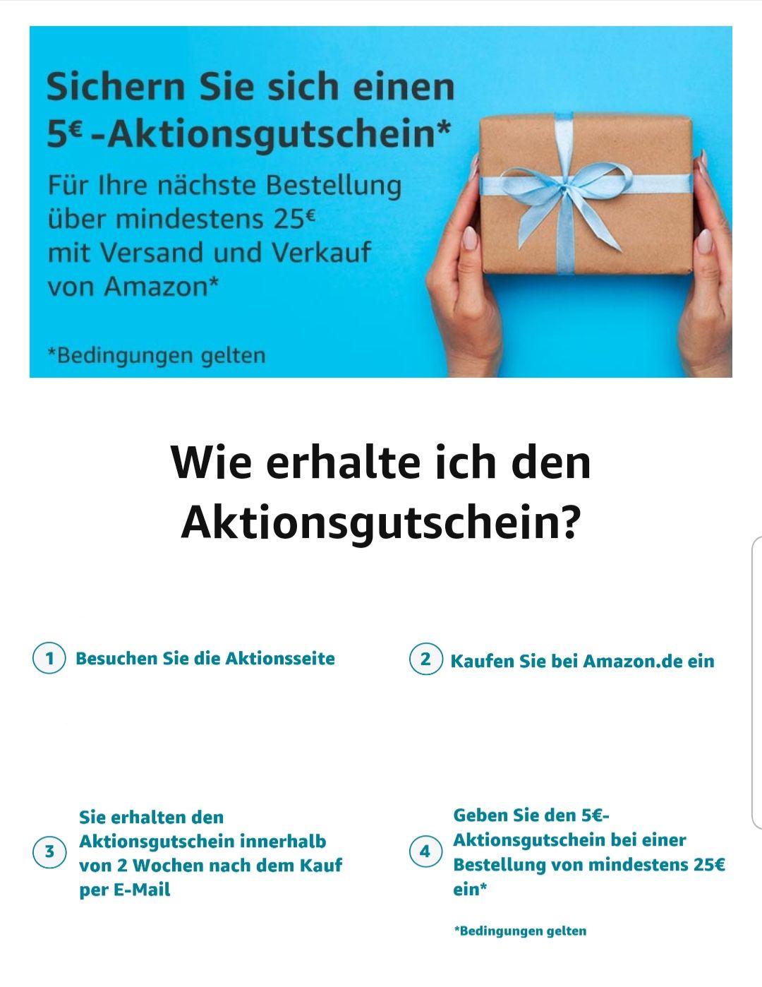 5€ Amazon Aktionsgutschein für Ihre nächste Bestellung über 25€