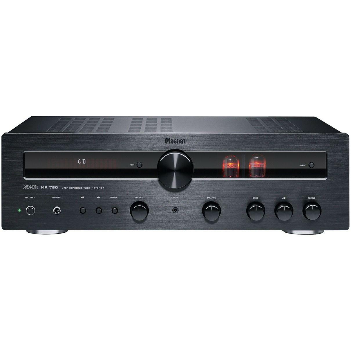 Magnat MR 780: Stereo-Receiver (2x 100W / 4 Ohm, Bluetooth, DAB+, USB, Röhren-Vorstufe)