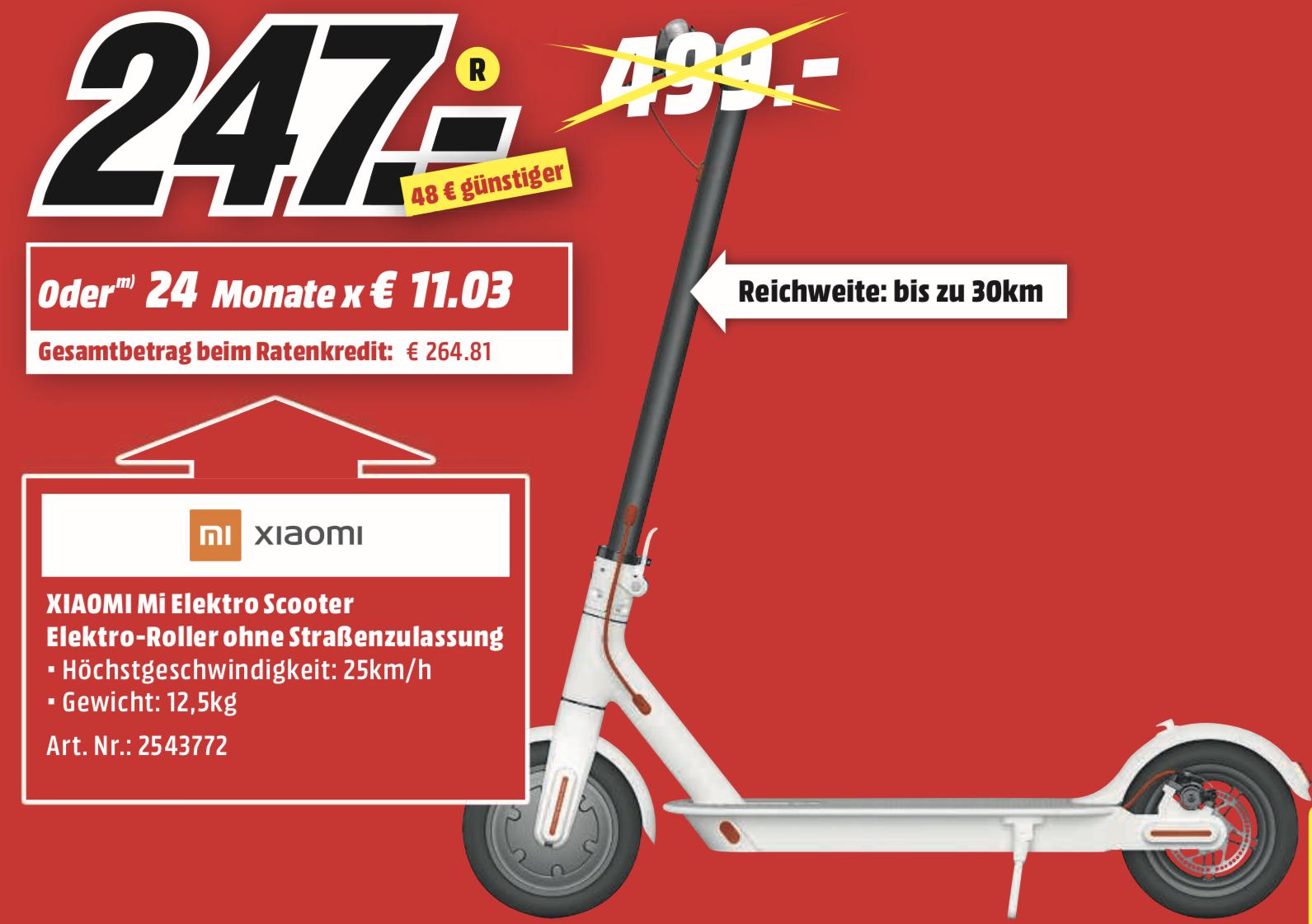 Lokal MediaMarkt Kaiserslautern: XIAOMI MI M365 Electric Scooter weiss für 247€ - ohne Straßenzulassung