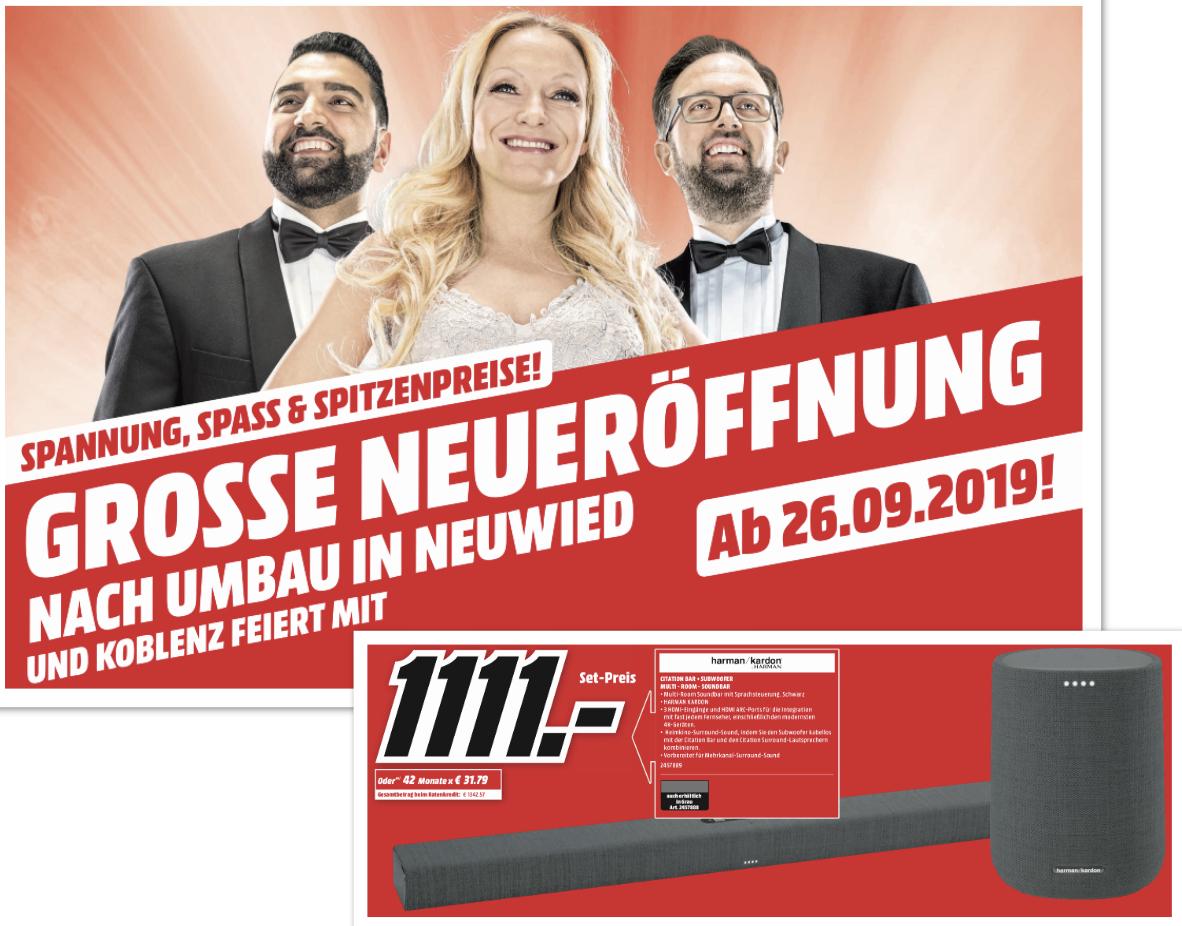 Lokal MM Neuwied u. Koblenz: Harman Kardon Citation Soundbar + Subwoofer für 1111€ / Bose SOLO 5 für 149€ / JBL BAR 5.1 + Sub für 479€ usw.