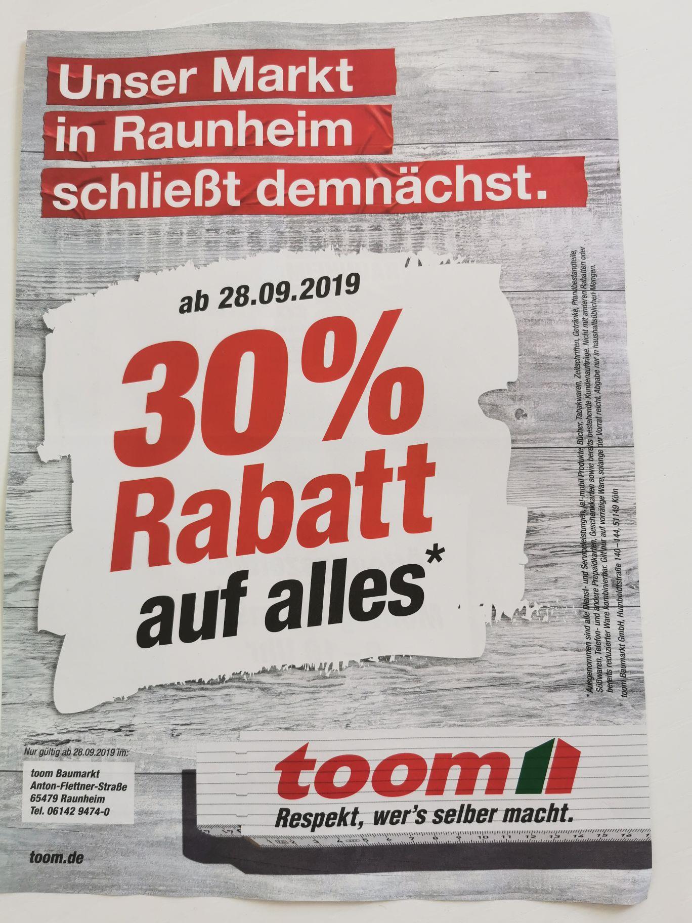 Toom Baumarkt Raunheim - 50% auf alles wegen Schließung