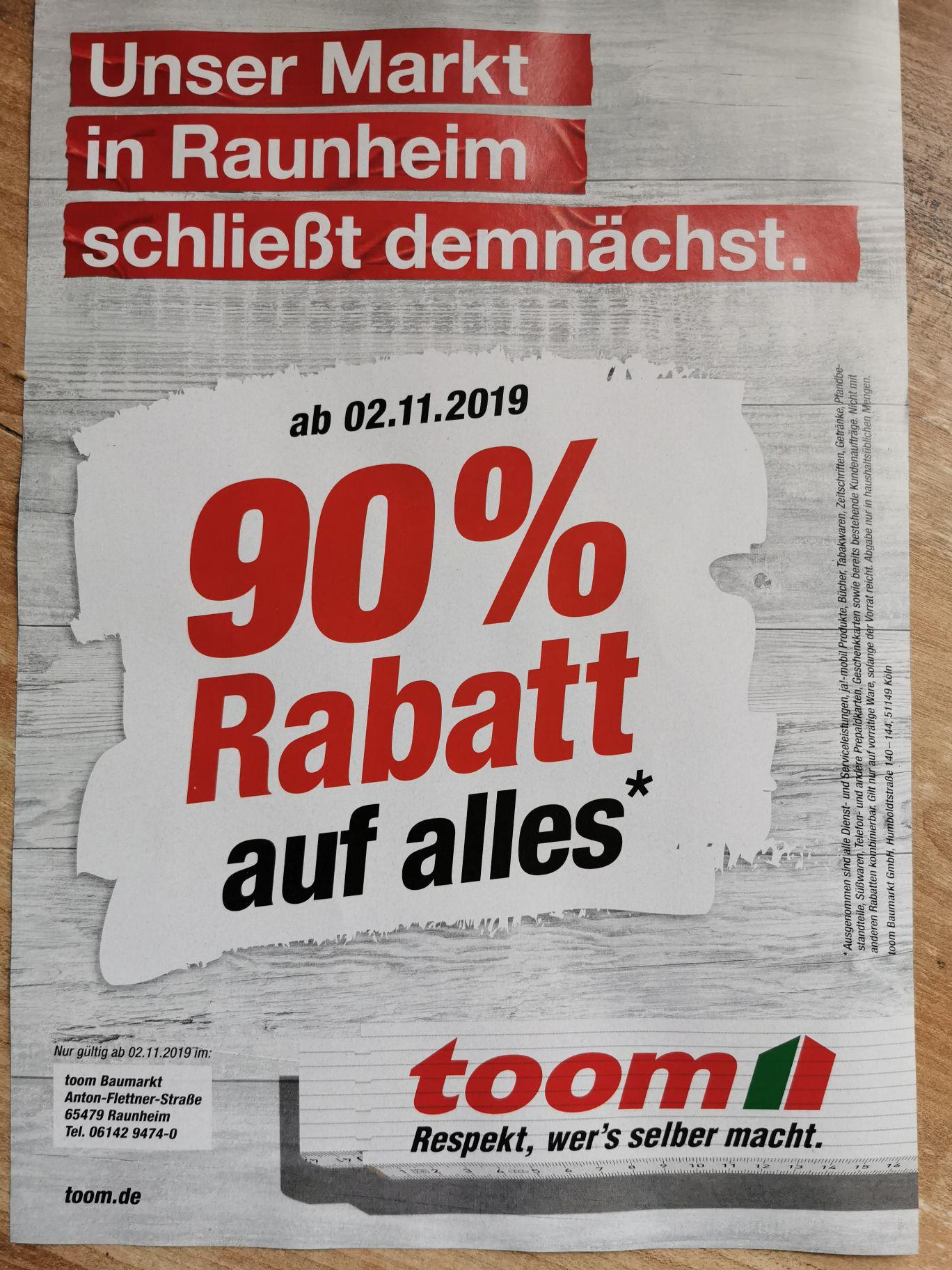 Toom Baumarkt Raunheim - 90% auf alles wegen Schließung