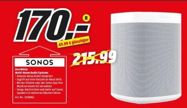 [Regional Mediamarkt Sinsheim] SONOS One - Smart Speaker mit Sprachsteuerung (App-steuerbar, W-LAN Schnittstelle, Weiß) für 170,-€