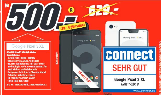 """[Lokal: MM Schwäbisch Hall / Crailsheim]  Google Pixel 3 XL - 6.3"""" Smartphone (64GB, 4GB RAM, USB-C, Qi, NFC, Android 9) weiß o. schwarz"""
