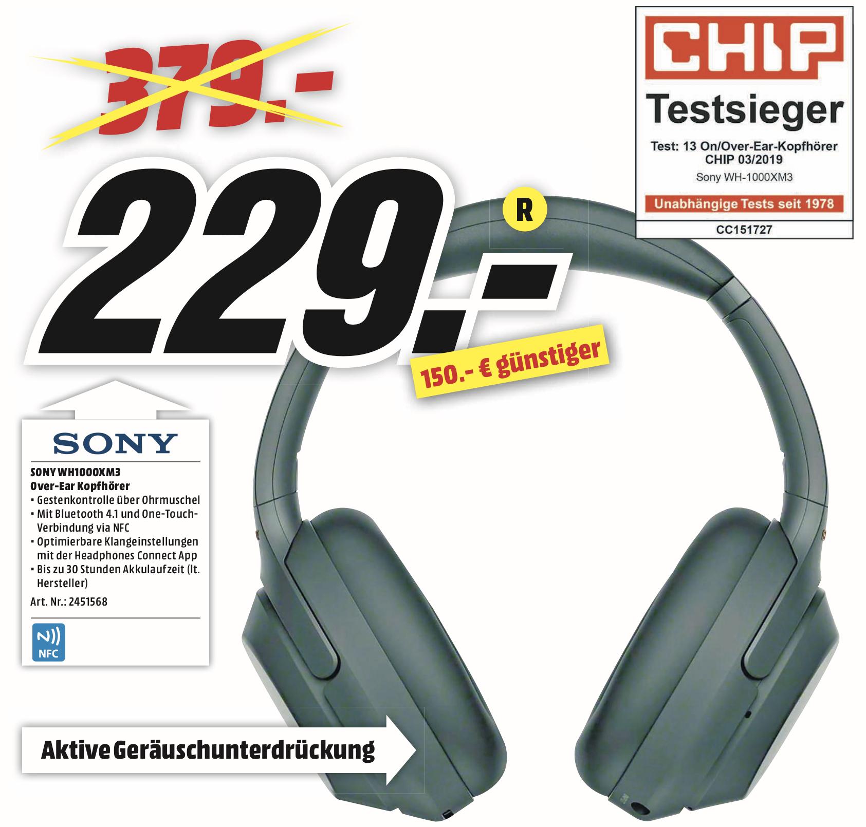 Lokal MediaMarkt Bochum u. Castrop-Rauxel: Sony WH-1000XM3 Kopfhörer für 229€