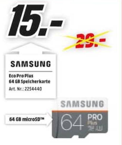 [Regional Mediamarkt Stuttgart-Feuerbach] SAMSUNG Pro Plus, 64 GB, micro-SDXC Speicherkarte, 100 MB/s für 15,-€