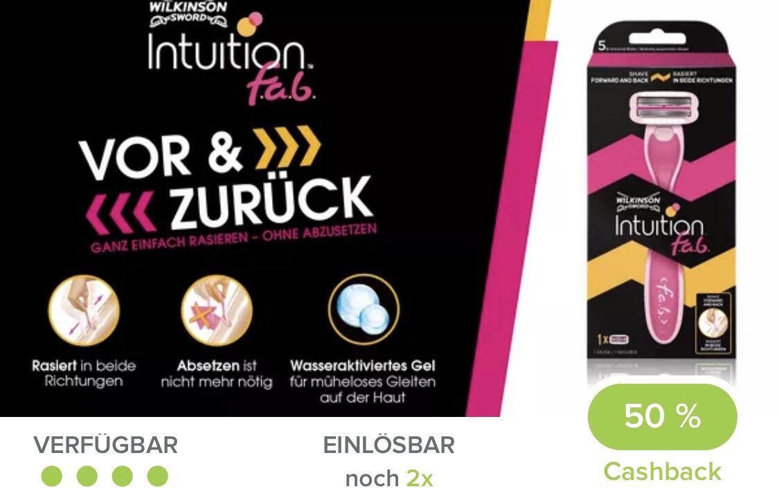 Marktguru Wilkinson Intuition f.a.b. Rasierers 50 % Cashback
