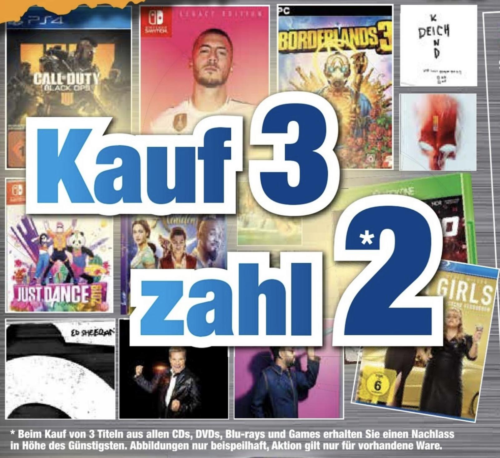 Lokal Expert Rastatt: Kauf 3 zahl 2! - auf alle Games, Blu-Rays, DVDs u. CDs - Bier o. Bratwurst je 1€ - nur am Sonntag
