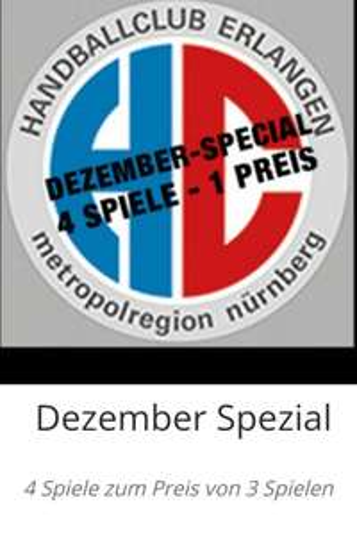 [Handball - Lokal] HC Erlangen Dezember Spezial - 4 Heimspiele zum Preis von 3 (reservix.de)