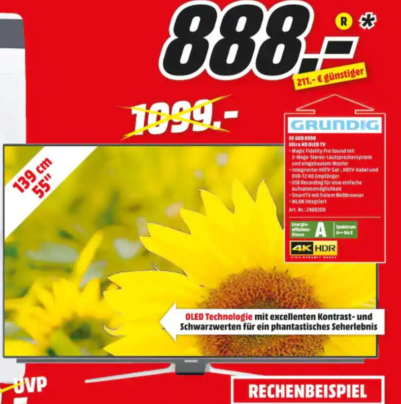 Media Markt SHA, Grundig 55 GOB 9990 Fine Arts OLED TV (Flat, 55 Zoll/139 cm, UHD 4K, SMART TV)