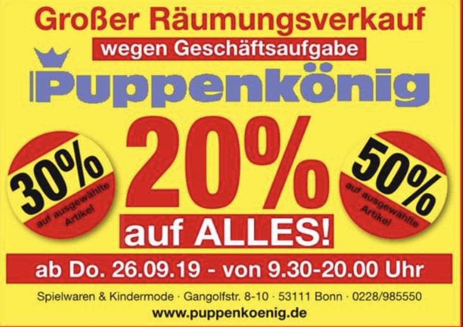 Lokal Bonn Puppenkönig Räumungsverkauf 20% auf alles