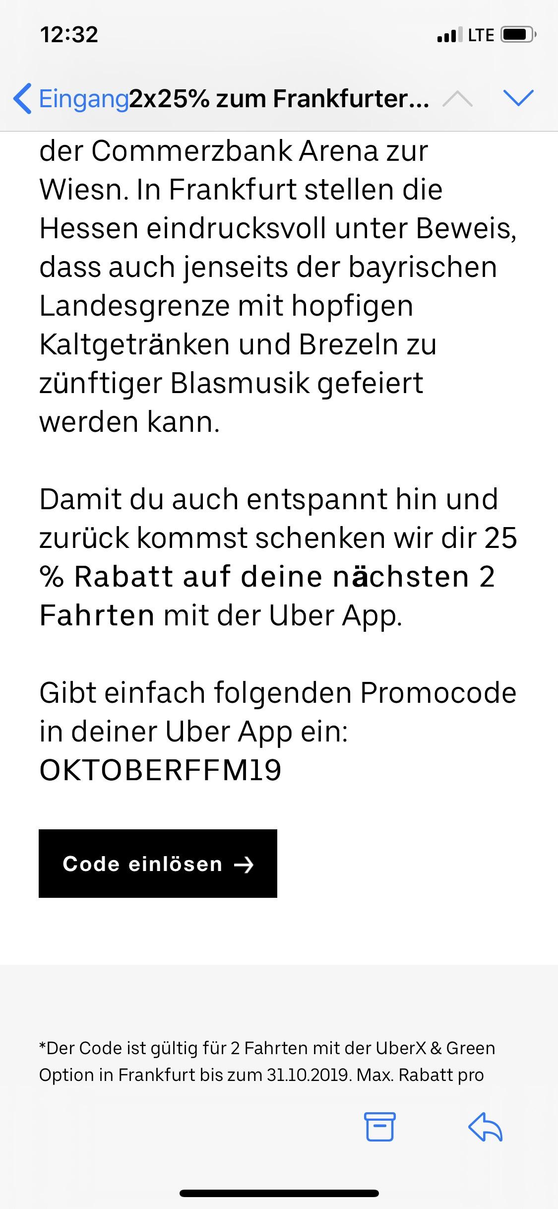 [Lokal Frankfurt] Uber 2x 25% Gutschein