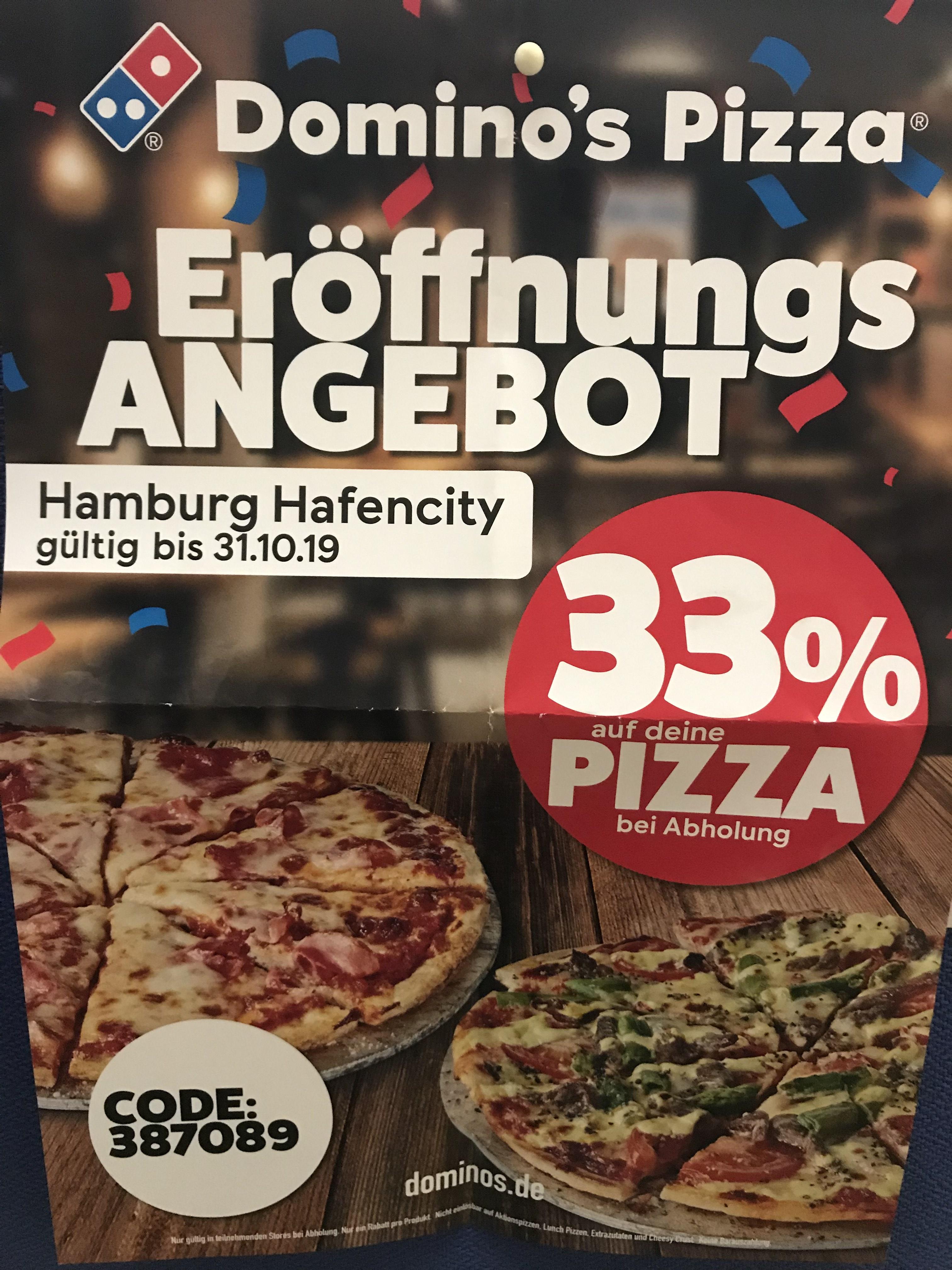 Lokal Hamburg Hafencity- 33% Rabatt auf Pizza für Selbstabholer