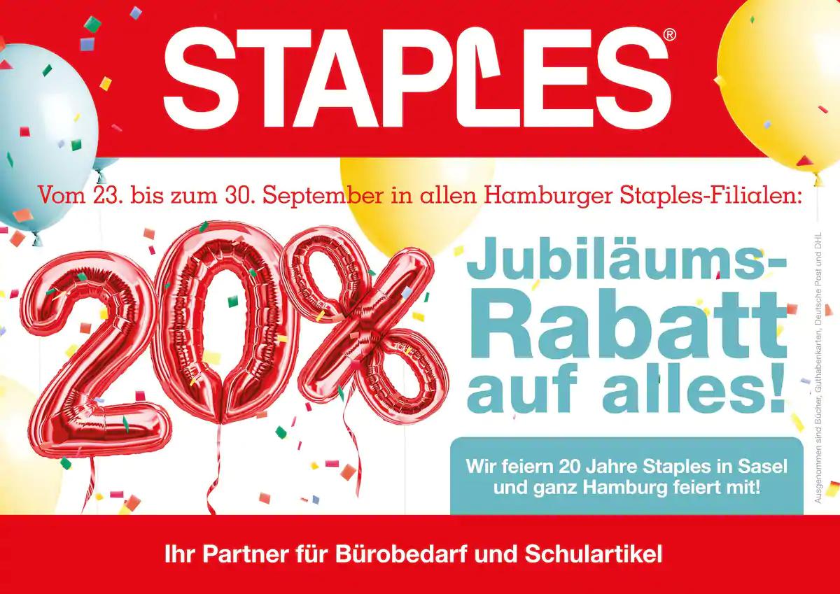 [Lokal Hamburg]Staples 20% auf alles |FritxBox 7590 für 159,20€ | Ausgenommen sind Bücher, Geschenkkarten, Deutsche Post und DHL.