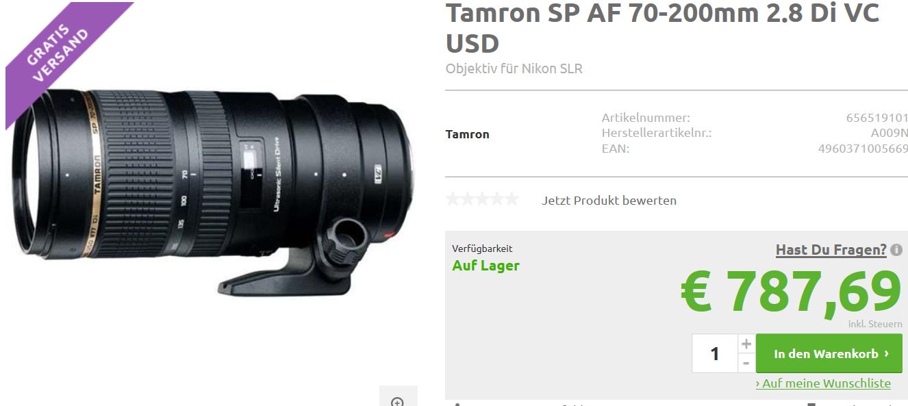 Tamron SP AF 70-200mm 2.8 Di VC USD für Nikon Version G1 (ältere Version)