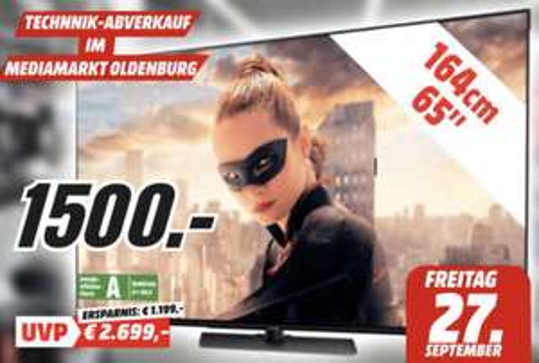 Lokal MediaMarkt Oldenburg: Panasonic OLED TV TX-65FZW804 165cm 4K UHD für 1500€