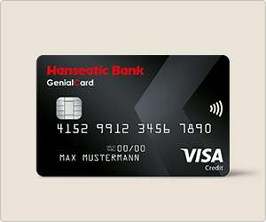 30 / 70 EUR Startguthaben: Hanseatic Bank Genial Card (0%AEE, Apple Pay, NFC)