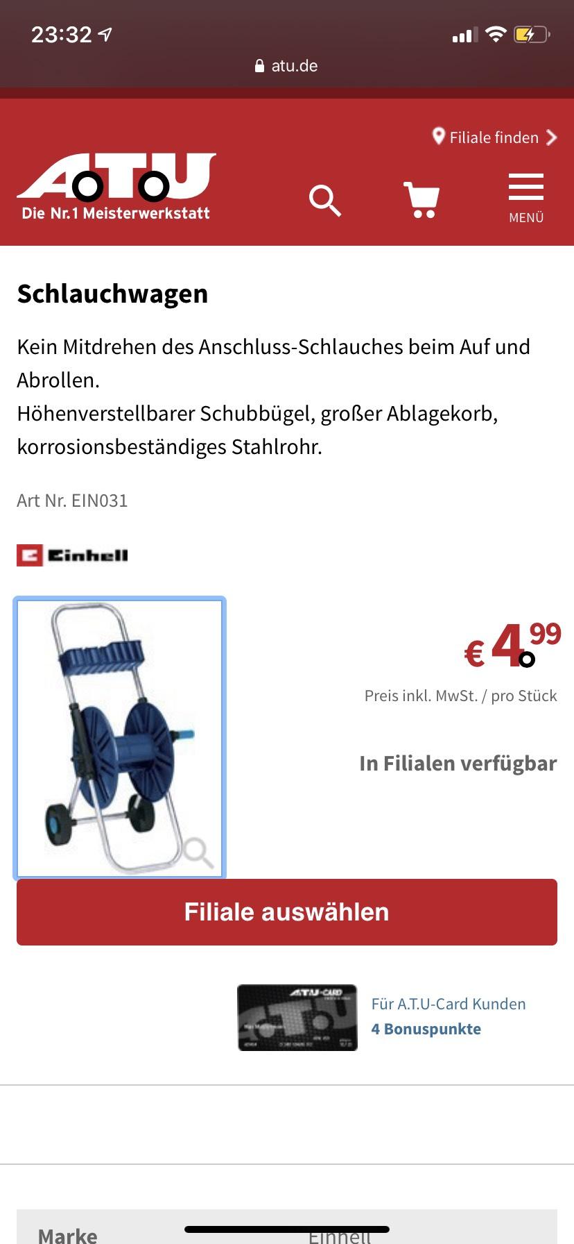 Einhell Schlauchwagen für 4,99€ bei ATU (Nur Abholung)