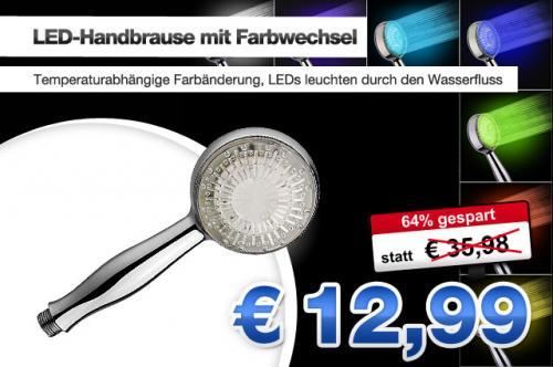 9 LED-Duschkopf Handbrause mit Farbwechsel für 12,99€ statt 35,98€