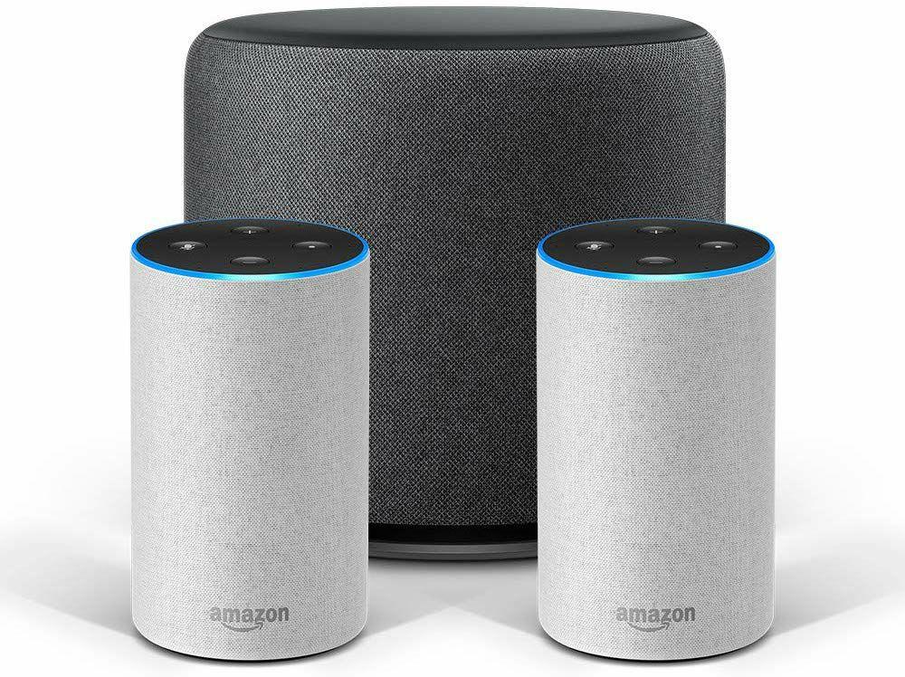 Amazon Echo Stereo-System - 2 Echo-Geräte (2. Gen.) + 1 Echo Sub