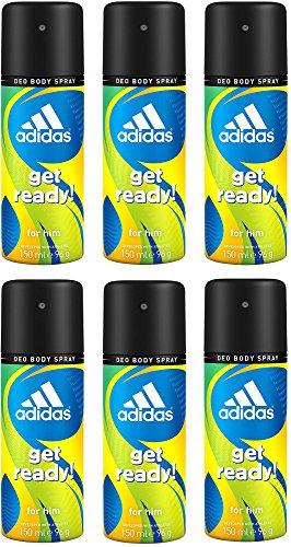 adidas get ready! Deo Body Spray für Herren (6 x 150 ml)