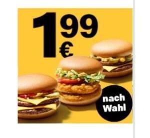 Doppelburger wie Chili Cheese oder Chickenburger für 1,99€ (McDonald's App)