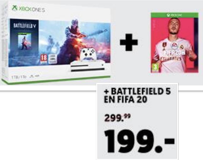 Grenzgänger MediaMarkt NL: Microsoft Xbox One S 1TB + Battlefield 5 Deluxe Edition Bundle + FIFA 20 für 199€