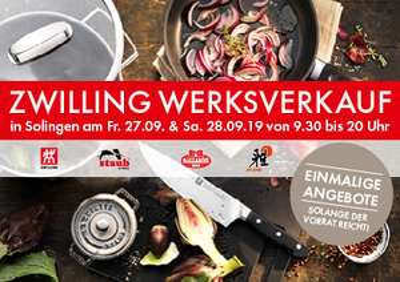Zwilling J.A. Henckels erster Werksverkauf  Lagerverkauf Lokal in Solingen 27.09. und 28.09.