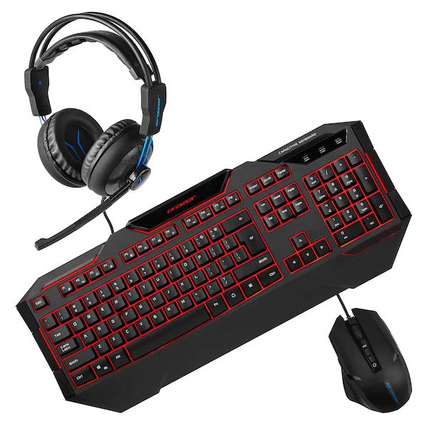 Medion Erazer Gaming Sparpaket: Headset Erazer P83962, Tastatur Erazer X81019 & Maus Erazer X81026