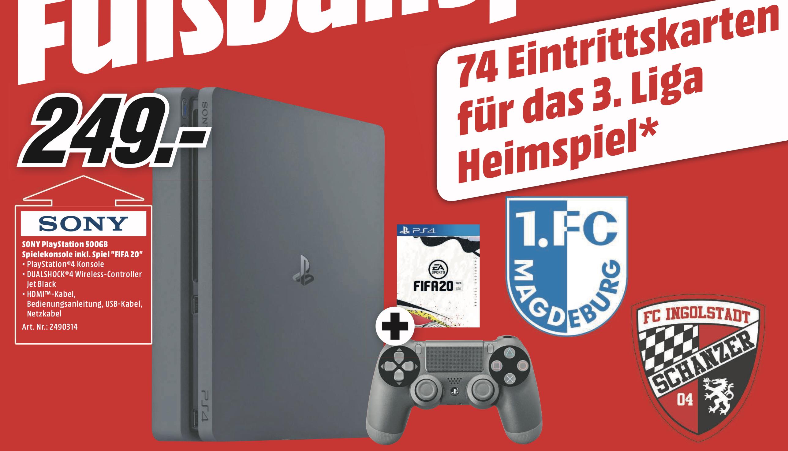 Lokal MediaMarkt Magdeburg: Sony PlayStation PS4 500GB + FIFA 20 für 249€ (+ Eintrittskarten für die ersten 37 Käufer)