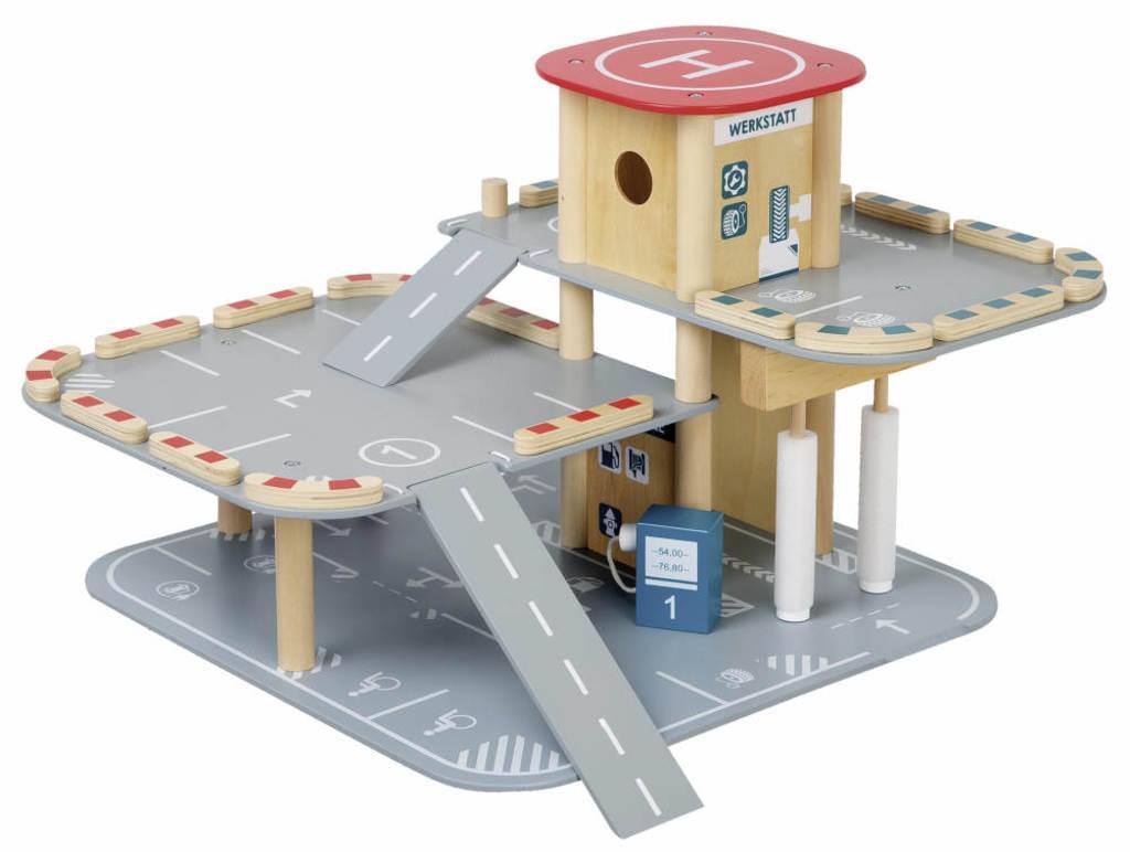ROBA Parkhaus,Parkgarage aus Holz mit Tankstelle,Waschstraße,2 Autos ( Real Online )