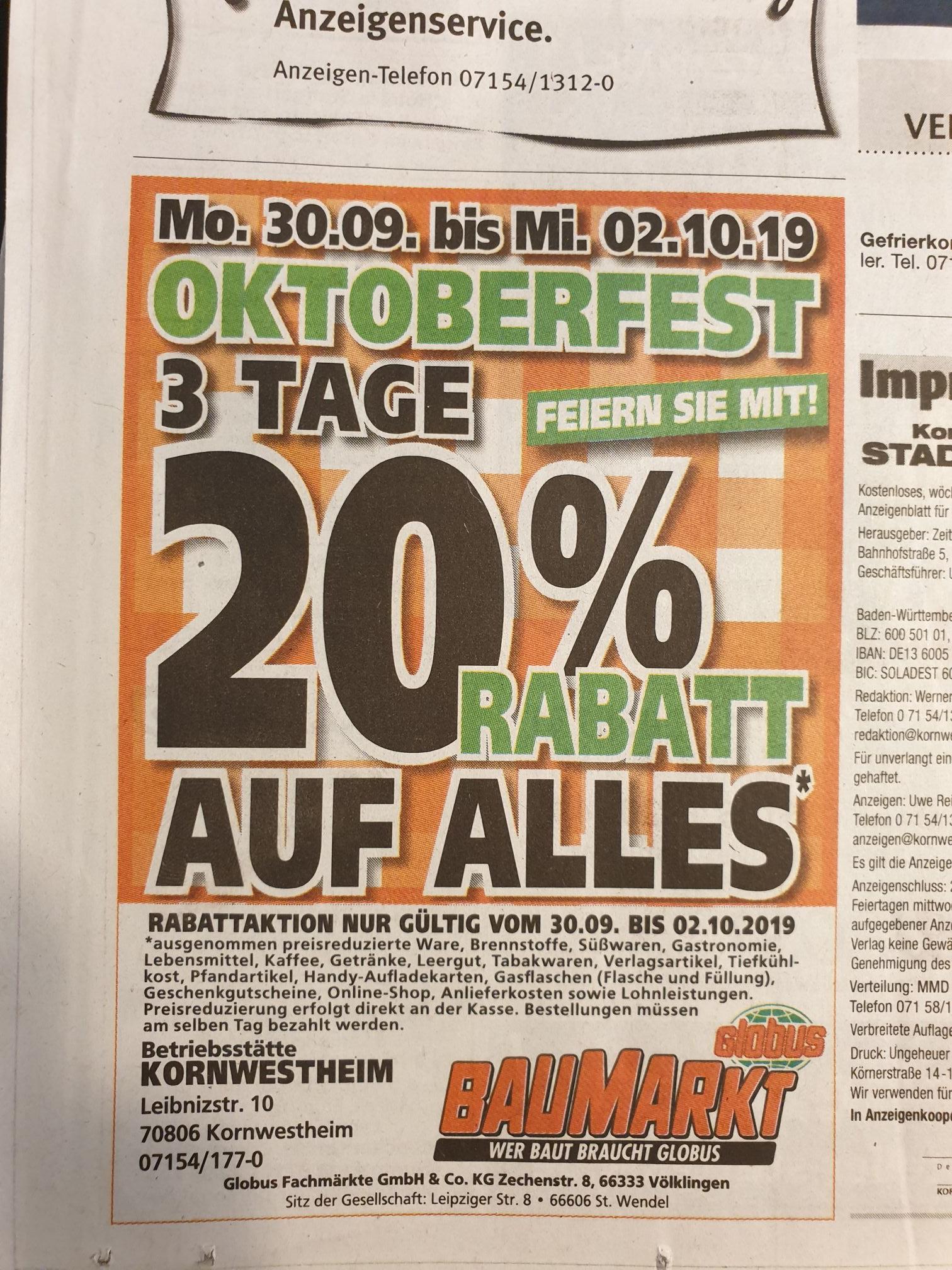 [Lokal Kornwestheim] Globus Baumarkt 20% auf alles 30.9 - 02.10