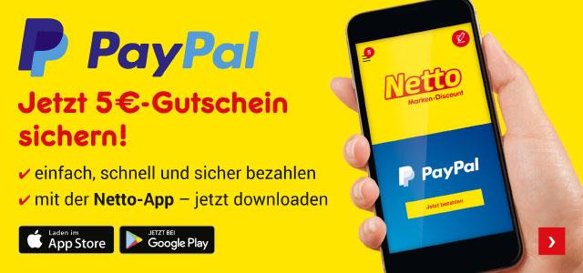 5-Euro-Gutschein für die Verknüpfung mit PayPal [Netto App]
