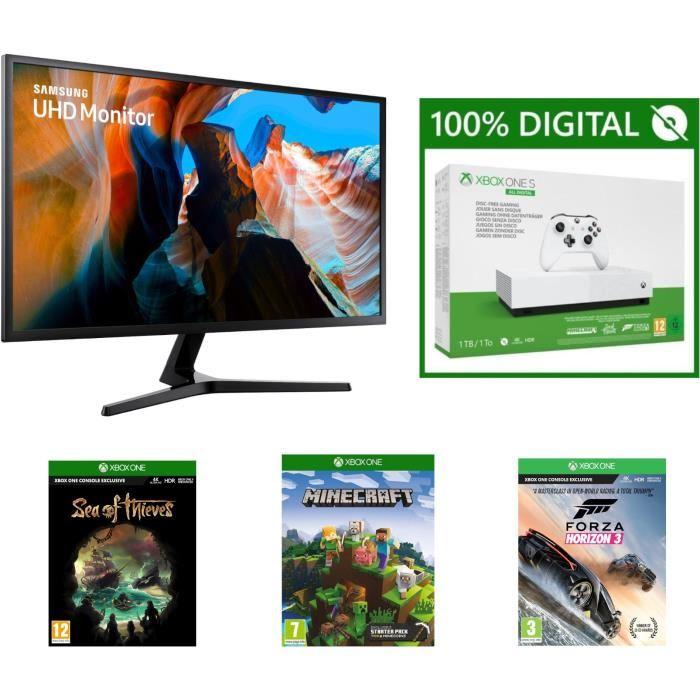 Samsung U32J590UQU - 4K UHD Monitor + Xbox One S 1TB All Digital Edition für 369,98€ (Cdiscount)