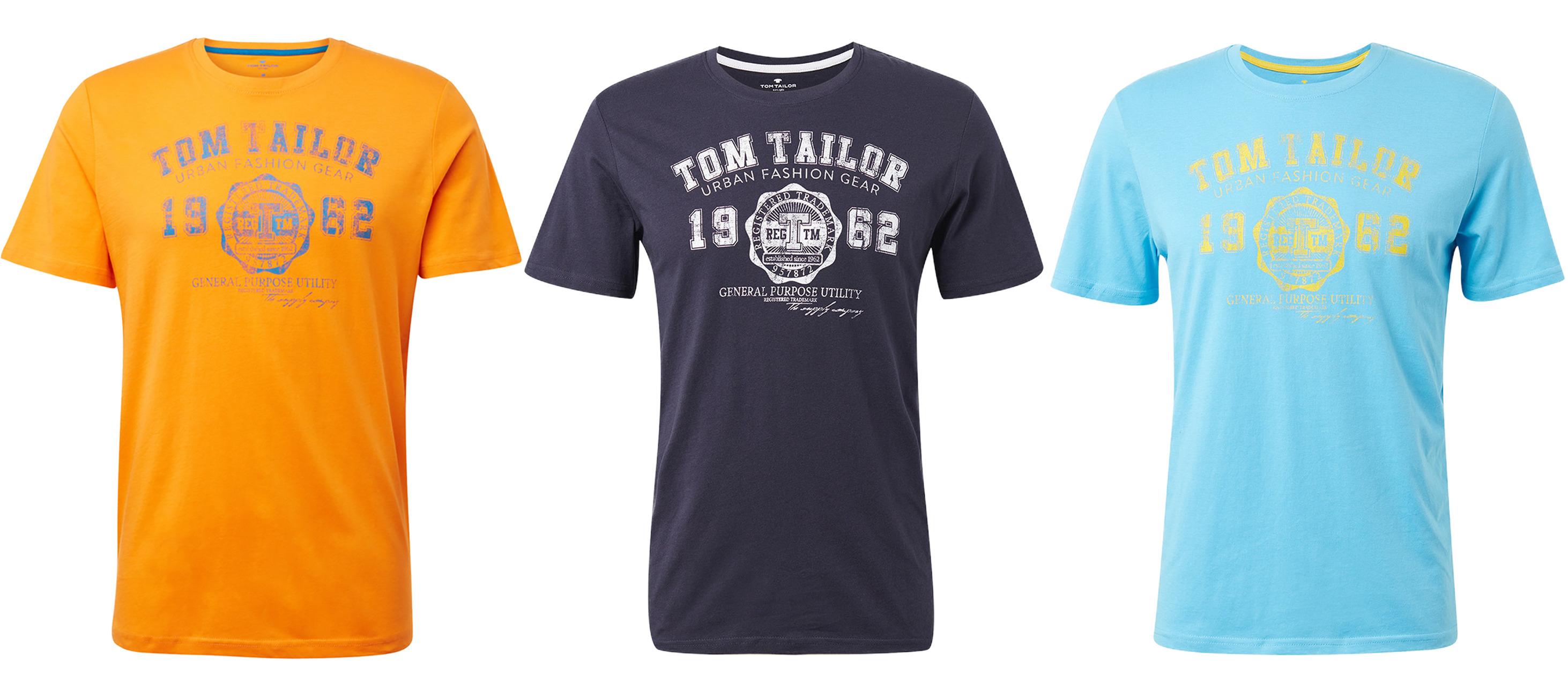 3 kaufen 2 bezahlen: Tom Tailor Logo T-Shirt Regular Fit (versch. Farben. Gr. S-XXL, 100% Baumwolle)