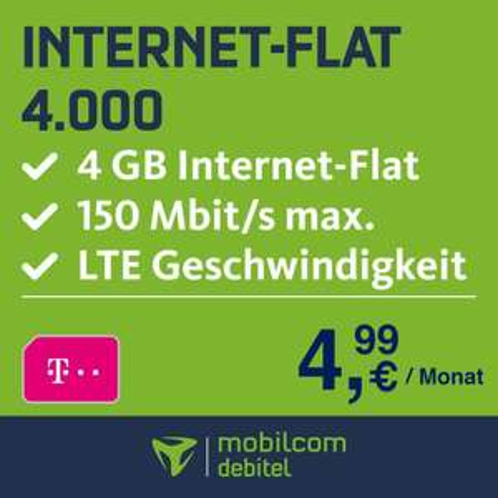 mobilcom-debitel Telekom Datentarif (4GB LTE) für eff. 4,99€ / Monat
