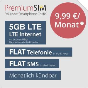 5GB LTE PremiumSIM Tarif für mtl. 9,99€ inkl. Allnet- & SMS-Flat (monatlich kündbar / 24-Monatsvertrag, o2-Netz)
