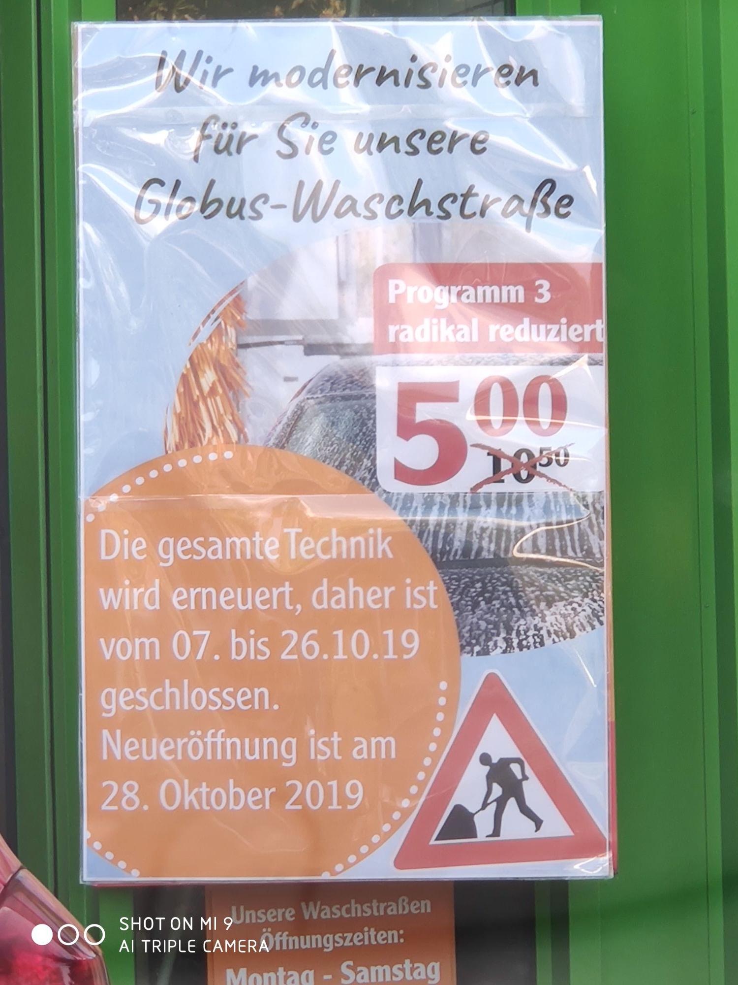 [Lokal] Globus Köln Marsdorf - Autowäsche für 5 €