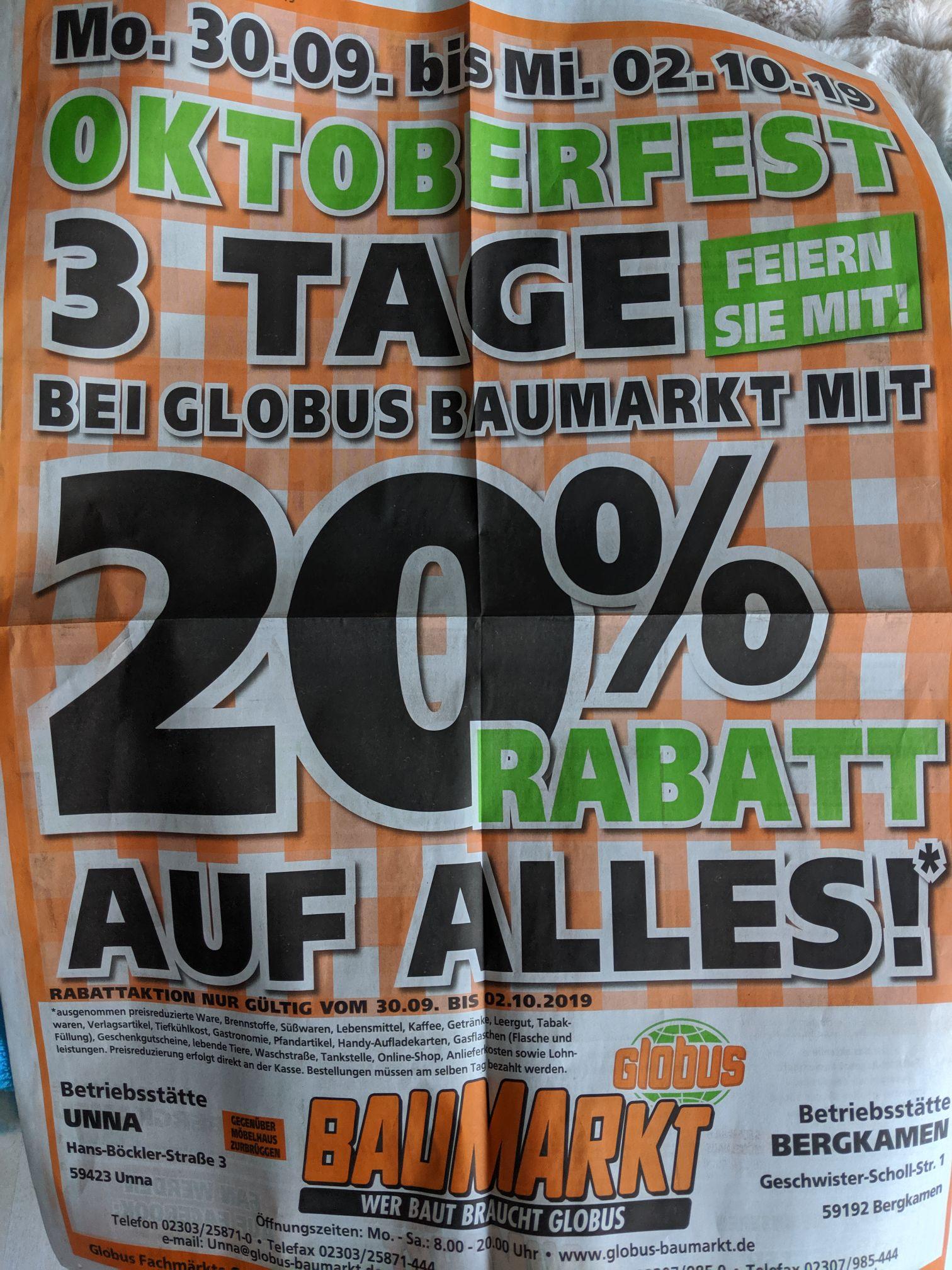 Globus Baumarkt Unna/Bergkamen 20%