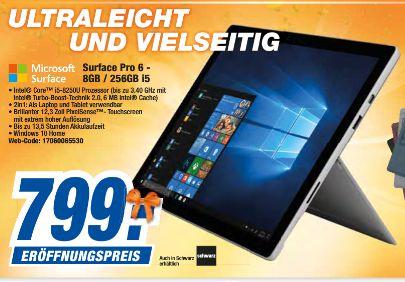 "[Regional Expert Laatzen/Langenhagen ab 28.09] Microsoft Surface Pro 6 platingrau Tablet (12,3""/WiFi/i5/8GB/256 GB/Win10 Home) für 799,-€"