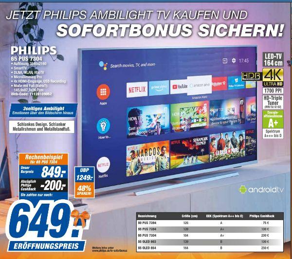 [Regional Expert Technikmarkt-20 Filialen] Philips 65PUS7304/12 UHD HDR LED-TV 165cm, QuadCore für 649,-€