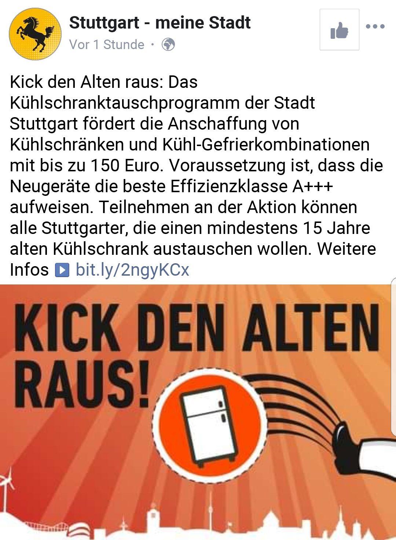 [Lokal Stuttgart] Förderung Kühschrank-Austausch bis max. 150€